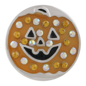 20MM Halloween sliver Plated with  rhinestone and enamel KC9875 yellow, brown