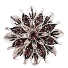 20MM Flower snap silver Plated with light purple  Rhinestones KC7654 snaps jewerly
