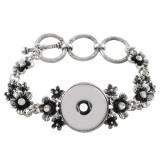 Цветочный металлический браслет со стразами 19CM fit 18 и 20MM защелкивающиеся кусочки 1 кнопки защелки Ювелирные изделия
