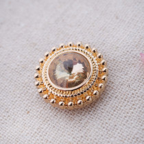 20MM enfonce des morceaux dorés avec des bijoux interchangeables en strass jaune KB6837