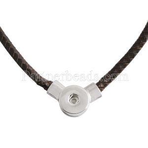 45CM Braided brown leather necklace fit snaps