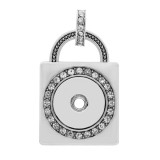 snap sliver Pendant with rhinestone fit 20MM snaps style jewelry KC0415