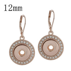 snaps Rose Gold Earring with white rhinestone fit 12mm chunks