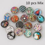 Botones a presión de vidrio 10pcs / lot MixMix todos los estilos Botones a presión 20MM Estilo MIX para joyería de broches al azar