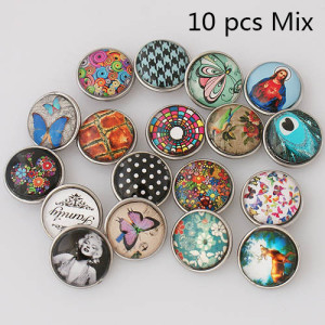 10pcs/lot glass snap buttons MixMix all styles 20MM Snap buttons MIX style for random Snaps Jewelry