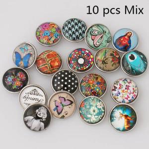 10pcs / lot Glas Druckknöpfe MixMix alle Stile 20MM Druckknöpfe MIX-Stil für zufällige Druckknöpfe Schmuck