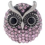 23MM Owl snap Plateado de plata antigua con diamantes de imitación rosa KB7962 broches de joyería