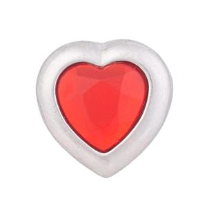 12MM Loveheart snap  Silver Plated with rhinestone KB5522-S snaps jewelry
