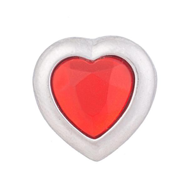 12MM Loveheart snap Plateado con diamantes de imitación KB5522-S broches de joyería