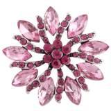 Diseño 20MM de plata chapada con diamantes de imitación de color rosa-rojo KC8931 broches de joyería