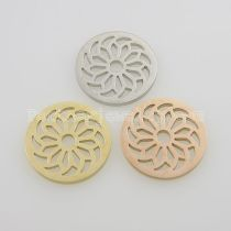 25MM stainless steel coin charms fit  jewelry size bloom