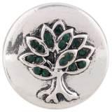 Árbol 20MM Chapado en plata antigua con diamantes de imitación verdes KC7434 joyería de broches intercambiables