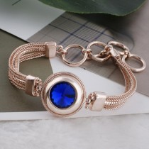20MM round snap Rose-Gold Plated with blue Rhinestone KC9766 snaps jewelry