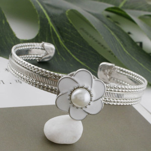 20MM flower snap sliver Plated with pearl and white enamel KC9872 snaps jewelry