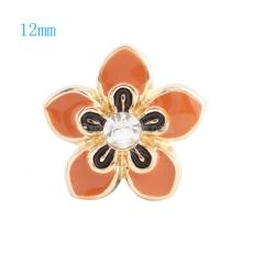 12MM Flower snap Gold Plated with clear rhinestone and orange enamel KS6032-S snaps jewelry