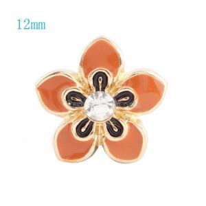 12MM Flower Snap Vergoldet mit klarem Strass und orangem Emaille KS6032-S Snaps Schmuck