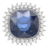 Diseño 20MM chapado en plata con diamantes de imitación azul oscuro KC6776 broches de joyería