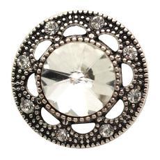20MM s'enclenche rond strass blanc plaqué argent Antique KB6831 s'enclenche bijoux