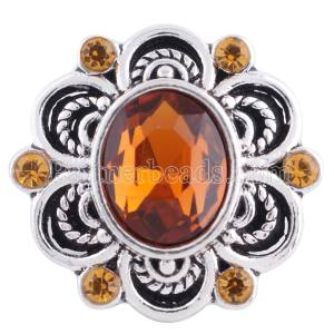 20MM snap flower Antique silver plated with brown rhinestones  KC6289 interchangable snaps jewelry