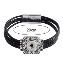 20CM 1 кнопка оснастки черные кожаные браслеты подходят 12mm защелки KS1138-S