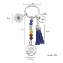 fashion Keychain with pendant and colorful beads fit snaps chunks KC1199 Snaps Jewelry