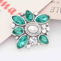 20MM snap Silver Plated with Green rhinestone KC7861 snaps jewelry