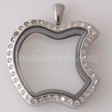 Apple Stainless steel floating charm locket can open