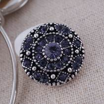 20MM round snap  Antique Silver Plated with purple rhinestone KC7077 snaps jewelry