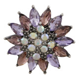 20MM design snap slack plaqué avec strass violet KC7595 s'encliquette bijoux