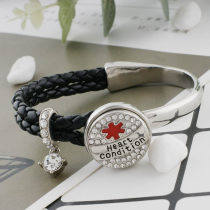 20MM Medical Alert heart condition snap Silver Plated with rhinestone and enamel KC9826 snaps jewelry