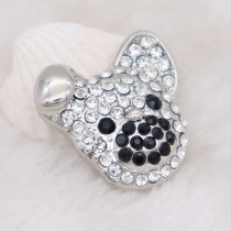 20MM dog snap Silver Plated with white rhinestone KC7987 snaps jewelry