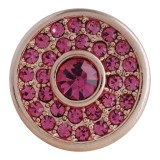 20MM bouton pression rond plaqué or rose avec strass rose-rouge KC5626 boutons pression