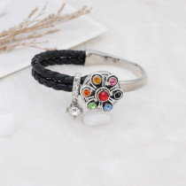 20MM flower snap antique silver plated colorful rhinestone KC7712 Multicolor