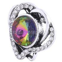 20MM Loveheart snap Antique Silver plaqué avec strass multicolore KC6244 snaps bijoux
