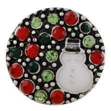 20MM Christmas snap sliver Plated with  rhinestone and enamel KC7647 snap jewelry