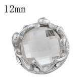12MM Crown snap sliver Plated with white rhinestone KS9705-S snaps jewelry