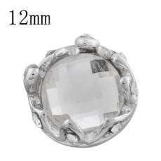 12MM couronne de bouton pression Plaqué de strass blanc KS9705-S s'encliquette des bijoux