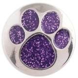20MM Paws snap button Antique Silver Plated with purple Color powder snap jewelry KC9680