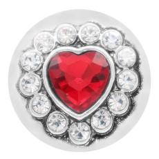 20MM bouton pression en coeur argenté avec strass rouge KC7878 s'encliquette bijoux