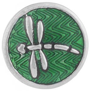 20MM Dragonfly snap Plateado con esmalte verde KB7717 broches de joyería