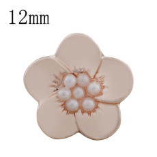 12MM Flower snap Rose Gold Plated with white beads KS9694-S snaps jewelry