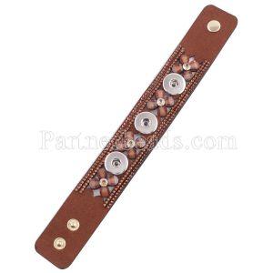 Partnerbeads 8.66inch коричневые кожаные браслеты подходят 18 / 20MM защелки кусочки KC0250 защелки украшения