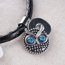 23MM Owl snap Antique Silver Plated with blue rhinestone KB7963 snaps jewelry