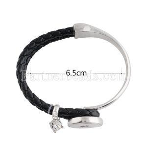 Les bracelets KC0605 de type nouveau en cuir véritable noir et alliage avec strass conviennent aux boutons 20mm