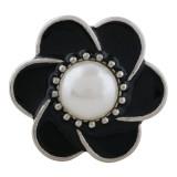20MM Blumensplitter Überzogen mit Perle und schwarzem Emaille KC9871-Schnappschmuck