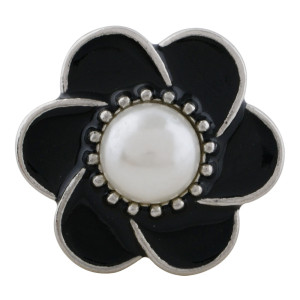 20MM flower snap sliver Plated with pearl and black enamel KC9871 snaps jewelry
