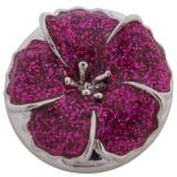 20MM flower snap Silver Plated with rose-red Enamel KKC8794 snaps jewelry
