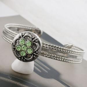 Broche de flores 20MM plateado con diamantes de imitación verdes KC7640 joyería de broche