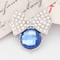 20MM snap Plateado con diamantes de imitación azules KC7855 broches de joyería