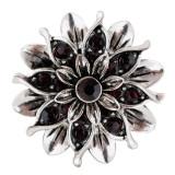 20MM Flower Snap versilbert mit dunkelvioletten Strasssteinen KC7662 schnappt edel